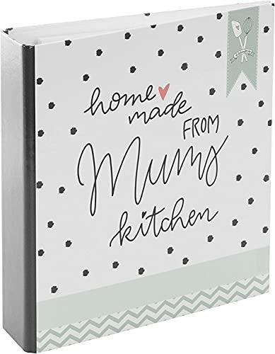goldbuch 69041 Rezeptebuch Homemade Moms, Rezepte Ordner mit 25 bedruckten linierten Blättern, Einband Kunstdruck, Mums kitchen Weiß / Grün, 21 x 22,5 cm
