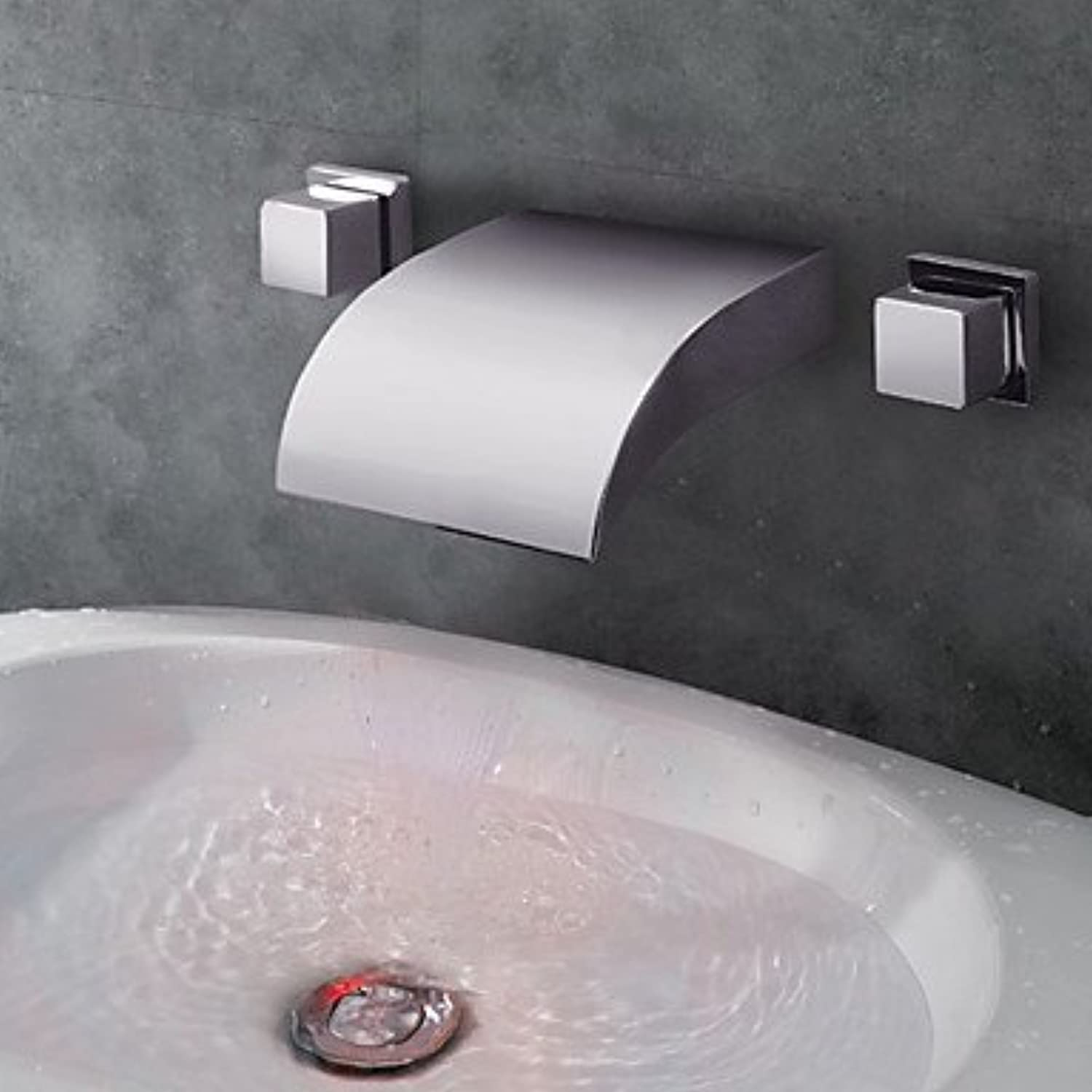 SYX Bathroom Sink Faucets Contemporary LED Waterfall Chrome