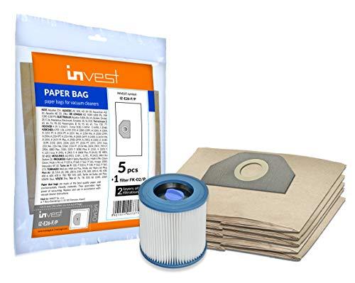 Invest 5 bolsas de aspiradora + filtro para Kärcher MV 3, WD 3, 6.959-130, WD 3.200, WD 3.500, A2201, 2504, 2204