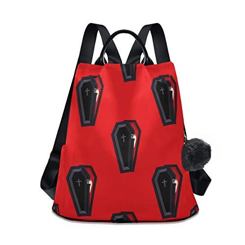 Halloween Cross Sarg Rucksack Geldbörse für Frauen Anti-Diebstahl Mode Rucksack Schultertasche