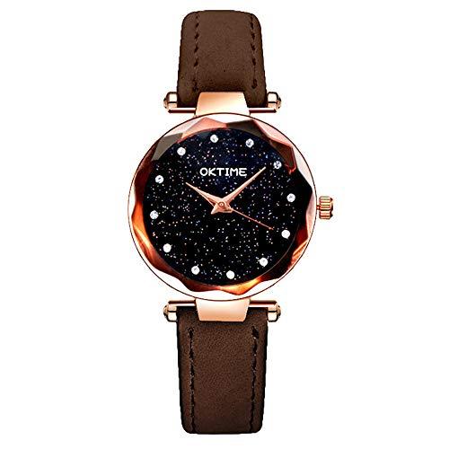 Uhren für Frauen Frauen Armbanduhr Romantischer Sternenhimmel Lederband Diamant Strass Designer Damenuhr Großhandel Marke Zegarki Damskie