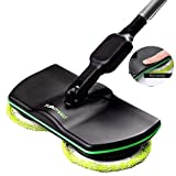 L@CR Electronic Wireless Mop,3 In 1 Cordless Spin Floor Cleaner For All Surfaces - Rechargeable Powered Floor Cleaner Scrubber Polisher Mop With 2 Microfiber Pads And 2 Polisher Pads For Indoor Use