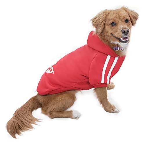 Eastlion Ropa Perro,Cálido Sudadera con Capucha para Perros Algodón Suéter Chaqueta Abrigo Costume Pullover para Mascota Pequeño Perro Gato (Rojo,L)