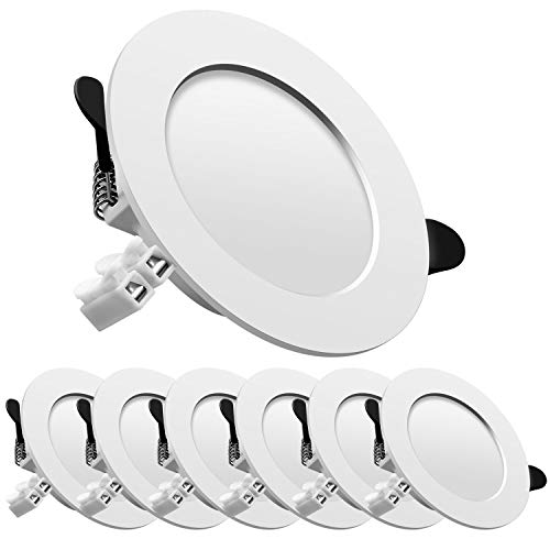 Downlight led empotrable redondo,Iluminacion 7W (700 lm),6000K (Luz Fr?a), Blanco,foco empotrable LED,Ojos de buey de led 6 pack