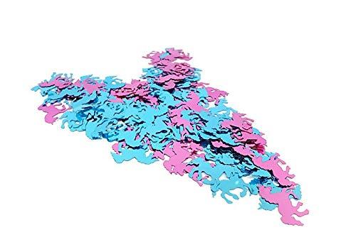 versandhop Konfetti Sterne Einhorn Herz Gold Silber Rot Blau Orange Schwarz Lila Pink Hell-Blau Grün Braun Türkis Violett 15g 45g 100g 450g 1000g (15g, Einhorn - Rosa+Hellblau)