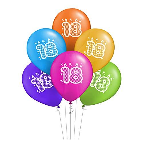 ocballoons Juego de 20 globos para cumpleaños de 18 años, biodegradables, de látex, para decoración de fiestas, inflables, con bombona de helio con texto «Made in Italy»