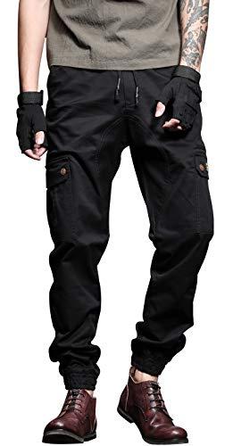 AiLoKoSo 迷彩パンツ ミリタリーパンツ カモフラ ズボン ロングパンツ カーゴパンツ ワークパンツ 軍パン メンズ 作業着 作業ズボン ボトムス イージーパンツ テーパード ワイド ゆったり 大きいサイズ (31-M ウエスト80cm, 556ブラック)