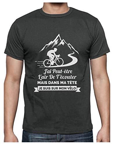 T-Shirt Cyclisme Homme - dans Ma Tête Je suis sur Mon Vélo - Humour T-Shirt Homme Large Grus Foncé