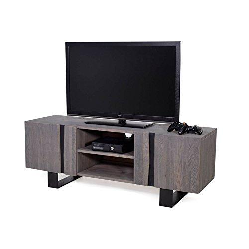 MÖBEL IDEAL Lowboard Edge Eiche Massiv TV Board in Grau geölt 150 x 44 x 54 cm Zerreiche Massivholz