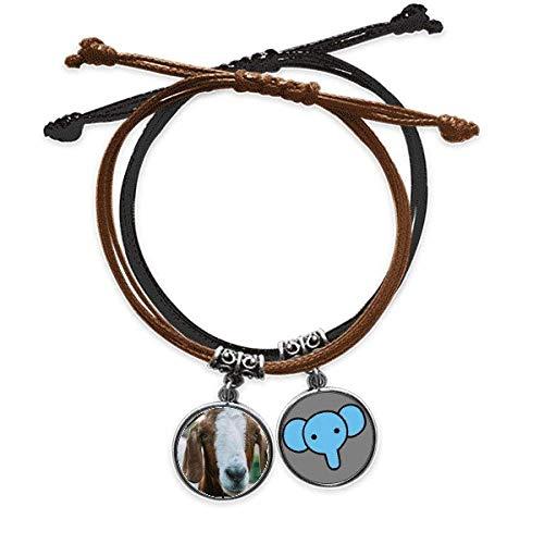 YaoX Pulsera de piel con diseño de animales de oveja, de organismo terrestre, para fotografía, cuerda, cadena de mano, elefante