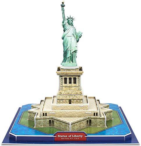 3D Puzzle Nueva York Estatua de la Libertad Arquitectura Modelo de construcción Kit de regalo de recuerdo para adultos y niños, rompecabezas 40 piezas