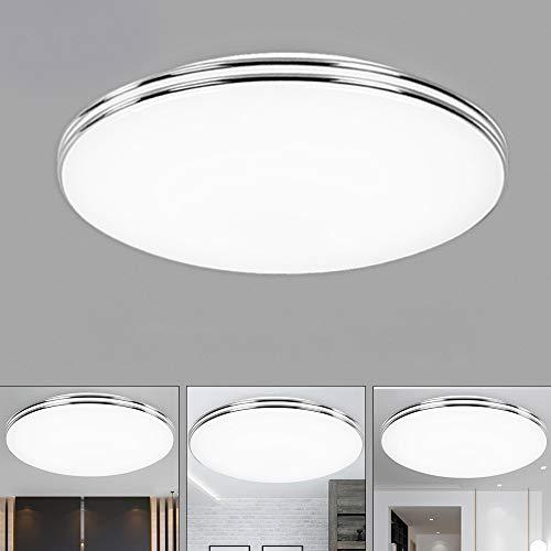 VIPMOON 24W LED Ceiling Light, 6500K Cold White, 16LEDs Flush Mount Ceiling Lamp, SMD 2835 Silver-Rimmed Round Ceiling Lights for Living Room Garage Hallway Basement Cabinet Stair Office