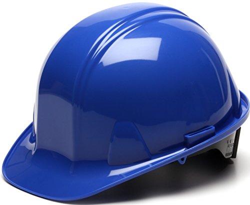 Pyramex Cap Style 4 Point Ratchet Suspension Hard Hat with Rain Trough - Comfortable Low Profile Design, Blue