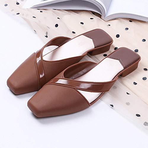 N/A Herren Stiefel Hausschuhe, Outdoor All-Match Sandalen und Hausschuhe, Damen Low Heels Hausschuhe, Modische Baotou Hausschuhe-Khaki_37
