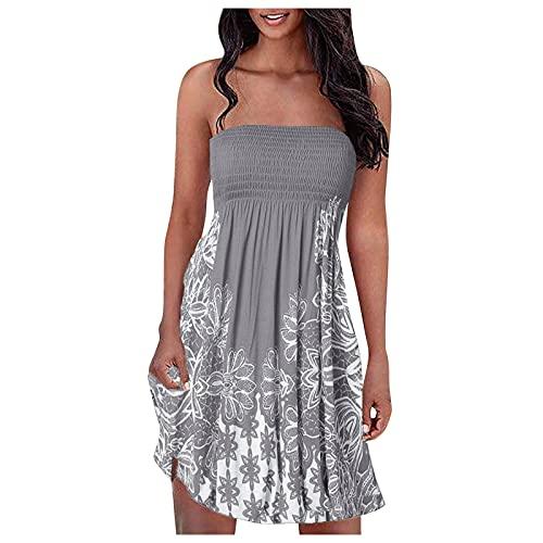 Goutique Women's Floral Strapless Pleated Flowy Skater Midi Tube Dress Elastic Ruched Beach Sleeveless Sundress Gray