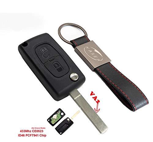 Llave para Peugeot y Citroen con Tarjeta Electrónica – 2 Botones para Peugeot 307 207 Citroen C1 C2 C3 (433MHz ID46 PCF7941 Chip) Transponder Mando a Distancia Coche (CE0523)
