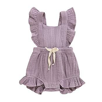 YOUNGER TREE Toddler Baby Girl Ruffled Sleeveless Romper Casual Summer Jumpsuit Cotton Linen Clothes  Light Purple 6-12 Months