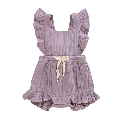 YOUNGER TREE Toddler Baby Girl Ruffled Sleeveless Romper Casual Summer Jumpsuit Cotton Linen Clothes (Light Purple, 6-12 Months)