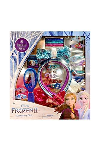 Disney Frozen Princess Elsa Accessory Set - Brush, Barrettes, Elastics, Terries, Snap Clips, Hair Ponies, Bows and Headbands