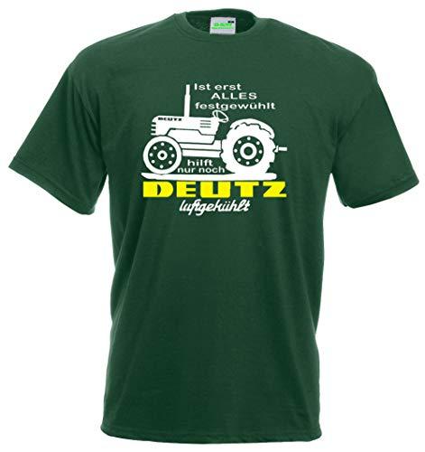 T-Shirt | Ist erst Alles festgewühlt, hilft nur noch Deutz-Luftgekühlt | grün | Größe L