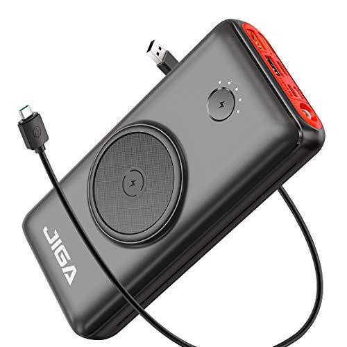 JIGA Wireless Powerbank 30000mAh Externer Akku Tragbares Ladegerät 18W PD 3.0 USB C Power Bank mit Taschenlampe, 3 Eingängen und 5 Ausgängen Kompatibel mit iPhone, Samsung, Huawei, iPad usw