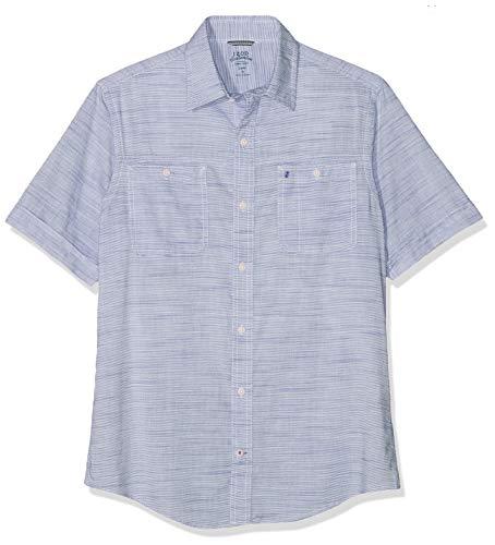 Izod Dockside Chambray Slub SS Shirt Camisa Casual, Azul (True Blue 413), S para Hombre