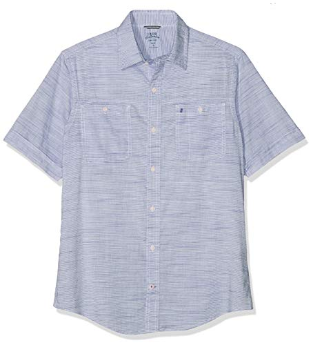 Izod Dockside Chambray Slub SS Shirt Camisa Casual, Azul (True Blue 413), S para Hombre