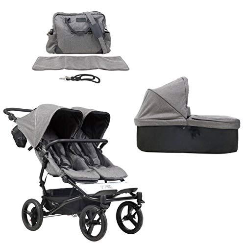 Mountain Buggy duet buggy V3 Luxury Collection - Carrito de bebé de dos plazas con bolso cambiador y 1 capazo de bebé con diseño de espiga