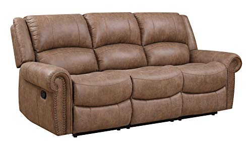 Madrona Burke Nova Brown 87' Sofa with Dual Recliners, Nailhead Trim, and Pillow Back
