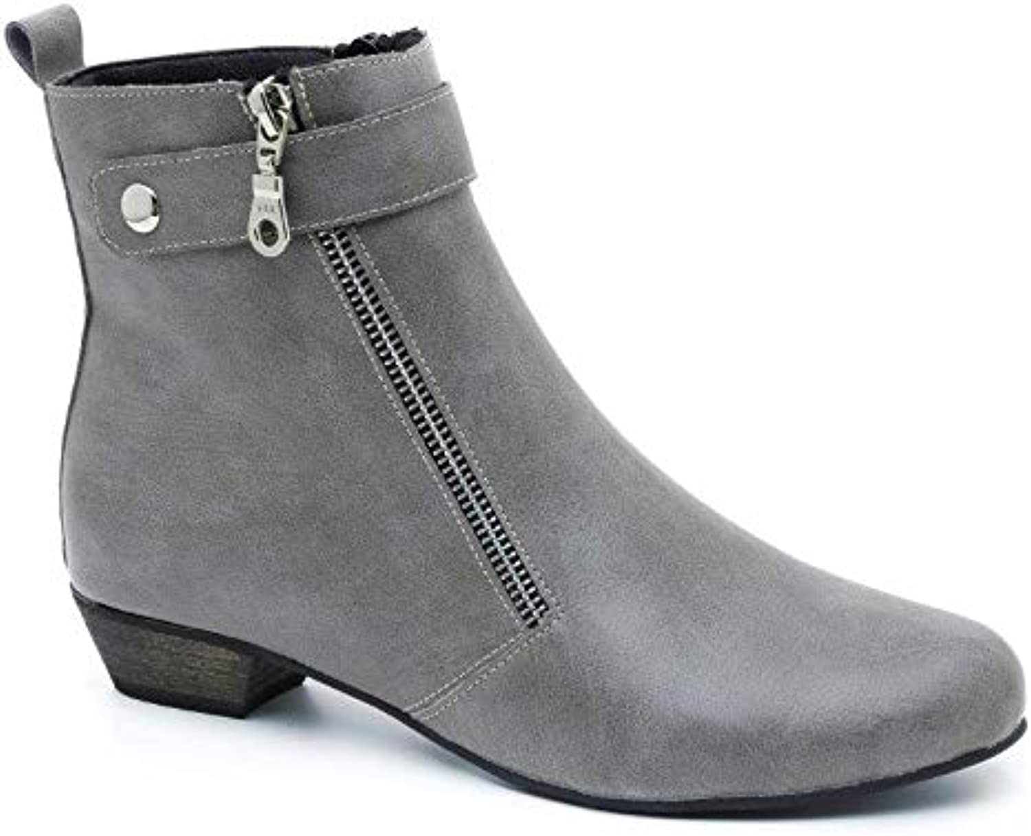 Bunique Portugal Ankle Boots for Women and Girls, Vegan Leather, Chunky 1.2 inch Heel.