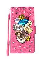AQUOS sense4 plus SH-M16 shm16 [ピカデリー][鏡あり] スマホケース 手帳型 横型 携帯 カバー case ショッキングピンク デコ カラフル 派手 きらきら ストーン ハート クリア カメラホール ストラップホール スタンド