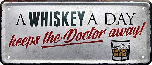 """schilderkreis24 – Blechschild Lustiger Alkohol Whisky Spruch """"A Whiskey a Day Doctor Away"""" Deko schottischer irischer Scotch Bar Kneipe Pub Theke Geburtstag Weihnachten Spirituosen-Fans 28x12 cm"""