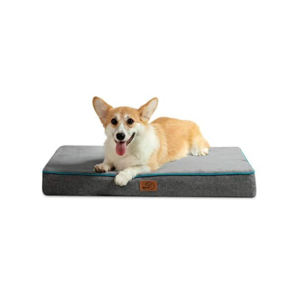 Bedsure Memory Foam Dog Bed for Small, Medium, Large Dogs & Cats – Orthopedic Dog Crate Mats Suitable for 28 inches/36 inches/42 inches Crates – Nonskid Bottom – Grey