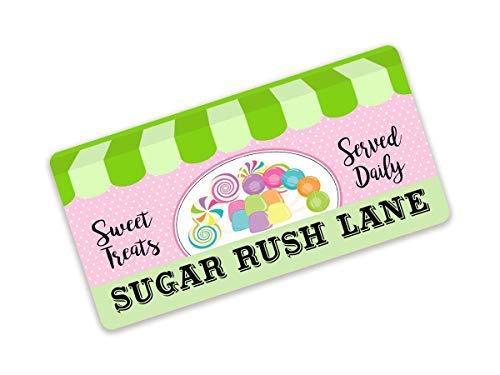 SIGNS Vintage Farmhouse Decor Funny Holiday Funny Sugar Rush Lane Corona de metal divertida para tienda de golosinas divertidas dulces servidas diarias Gum Gum Gum y Suckers Candy Sgn 6 x 12 pulgadas
