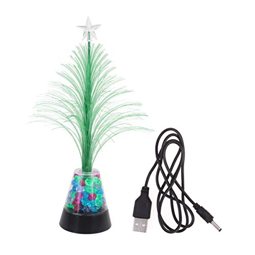 SOLUSTRE LED Glasfaser Nachtlicht USB Aufladen Glasfaser Weihnachtsbaum Lampe Mini Weihnachtsbaum Licht Desktop Dekorative Lampe