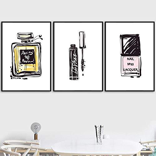 YDGG Canvas schilderij Nordic Prints muurkunst parfum foto's creatieve poster woonkamer decoratie 50 x 70 cm x 3 st. Geen lijst
