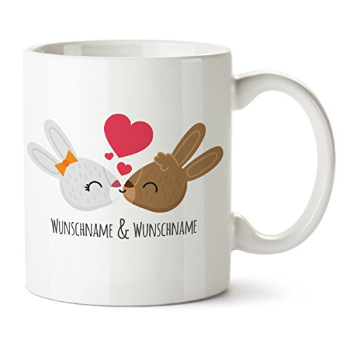 Partycards Ostern Personalisierte Tassen als Geschenkidee mit verschiedenen Motiven - Kaffebecher (Küssende Hasen + Wunschname, 300ml)