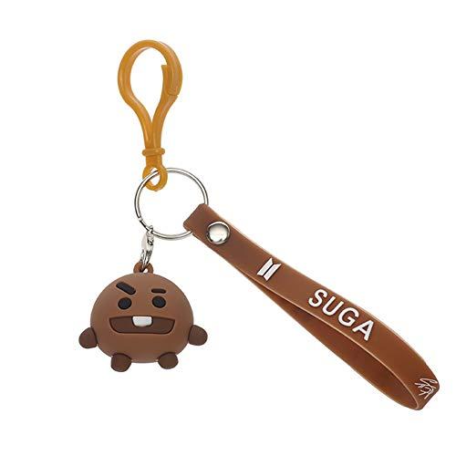 Mini Office Depot Kpop BTS Keychain, BTS Bangtan Boys CHIMMY Cooky SIE SIND RJ SHOOKY TATA Van Silikon Keychain Süße Puppe Anhänger für Tasche Geldbörse Telefon Dekoration(Style 12)