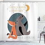ABAKUHAUS Ich Liebe Dich Duschvorhang, Bär & Fuchs in der Liebe, mit 12 Ringe Set Wasserdicht Stielvoll Modern Farbfest & Schimmel Resistent, 175x200 cm, Blaugrau Orange Grau