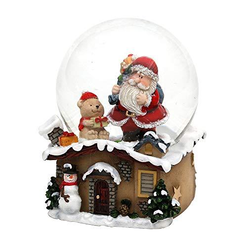 Dekohelden24 Schneekugel mit Weihnachtsmann, Maße L/B/H: 7 x 7 x 9 cm Kugel Ø 6,5 cm.