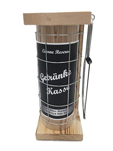 Getränke Kasse Eiserne Reserve Spardose incl. Säge zum zersägen des Gitter, Geldgeschenk, das andere Sparschwein, witzige Sparbüchse, Geschenkidee