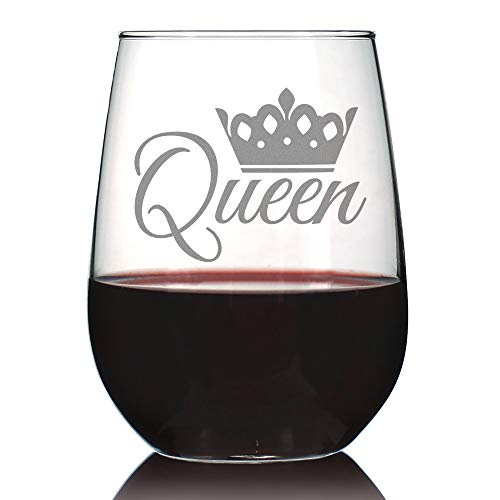Queen  Cute Funny Stemless Wine Glass, Large 17 Ounces, Etched Sayings, Gift Box
