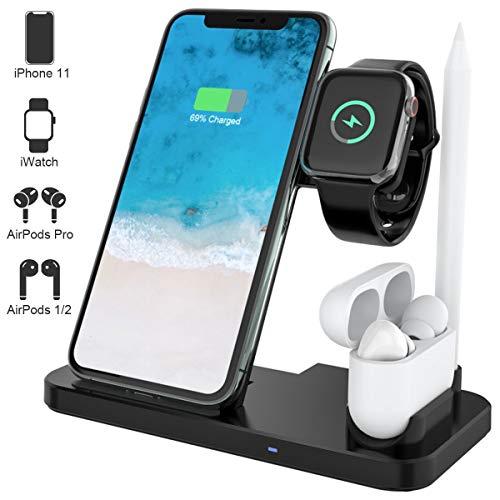 Yaature 4 in 1 Kabelloses Ladegerät, Qi Induktive Ladestation für Apple Watch 5/4/3/2/1 & AirPods Pro/2/1 & Stift, Faltbar Fast Wireless Charger für iPhone 11/11 Pro Max/X/XS/XR/8, Samsung und Mehr