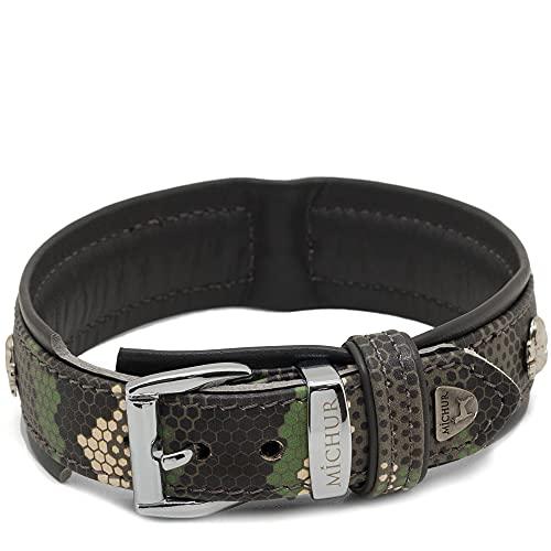 MICHUR Skully Collar de Cuero para Perros Collar de Cuero para Perros Cuero Negro con Cabeza de Calavera Aplicaciones Disponibles en Diferentes tamaños