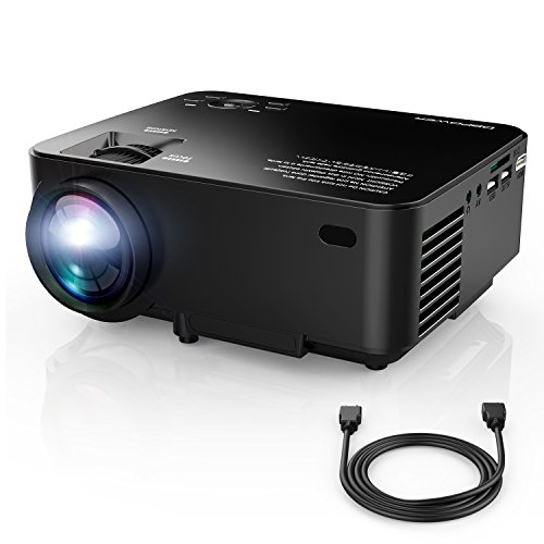 DBPOWER T20 LCD Mini Movie Projector, Multimedia Home Theater Video Projector with HDMI Cable, Support 1080P HDMI USB SD Card VGA AV TV Laptop Game iPhone Android Smart-Phone