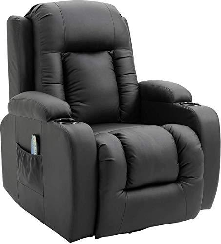 DFGWS Fauteuil de Massage et Relaxation électrique Chauffant inclinable Fauteuil électrique d'aide à la verticalisation TV Fauteuil Relax Repose-Pied télécommande Noir