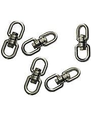 Chiloskit - Mosquetón giratorio de acero inoxidable, con gancho doble giratorio para ojales, 5 unidades, M4 0,9 x 0,9 cm