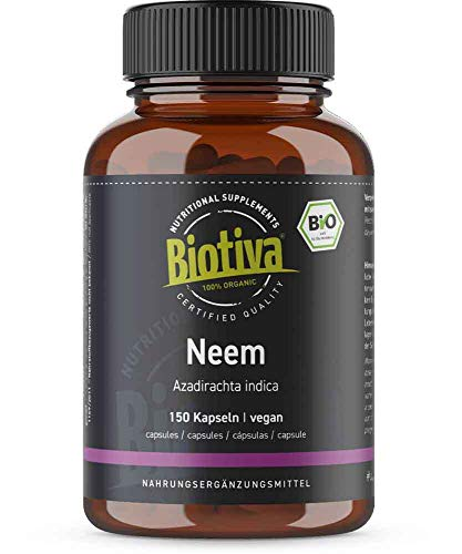 Neem Bio - 150 capsule - Azadirachta indica - vegano - albero di nīm - Ayurveda N integratore alimentare ayurvedico - qualità biologica - confezionato in Germania (DE-ÖKO-005)