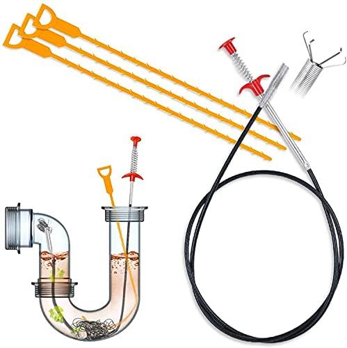 Rohrreinigungsspirale, Abflussspirale, 4er Set Multifunktional Abflussreiniger Spirale Abflussreiniger für Küche, Waschbecken, Bad und Dusche