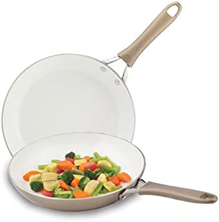 WearEver C944S2 Pure Living Nonstick Ceramic Coating Scratch Resistant PTFE PFOA and Cadmium Free Dishwasher Safe Oven Safe 10-Inch and 8-Inch Fry Pan Cookware Set, 2-Piece, Gold
